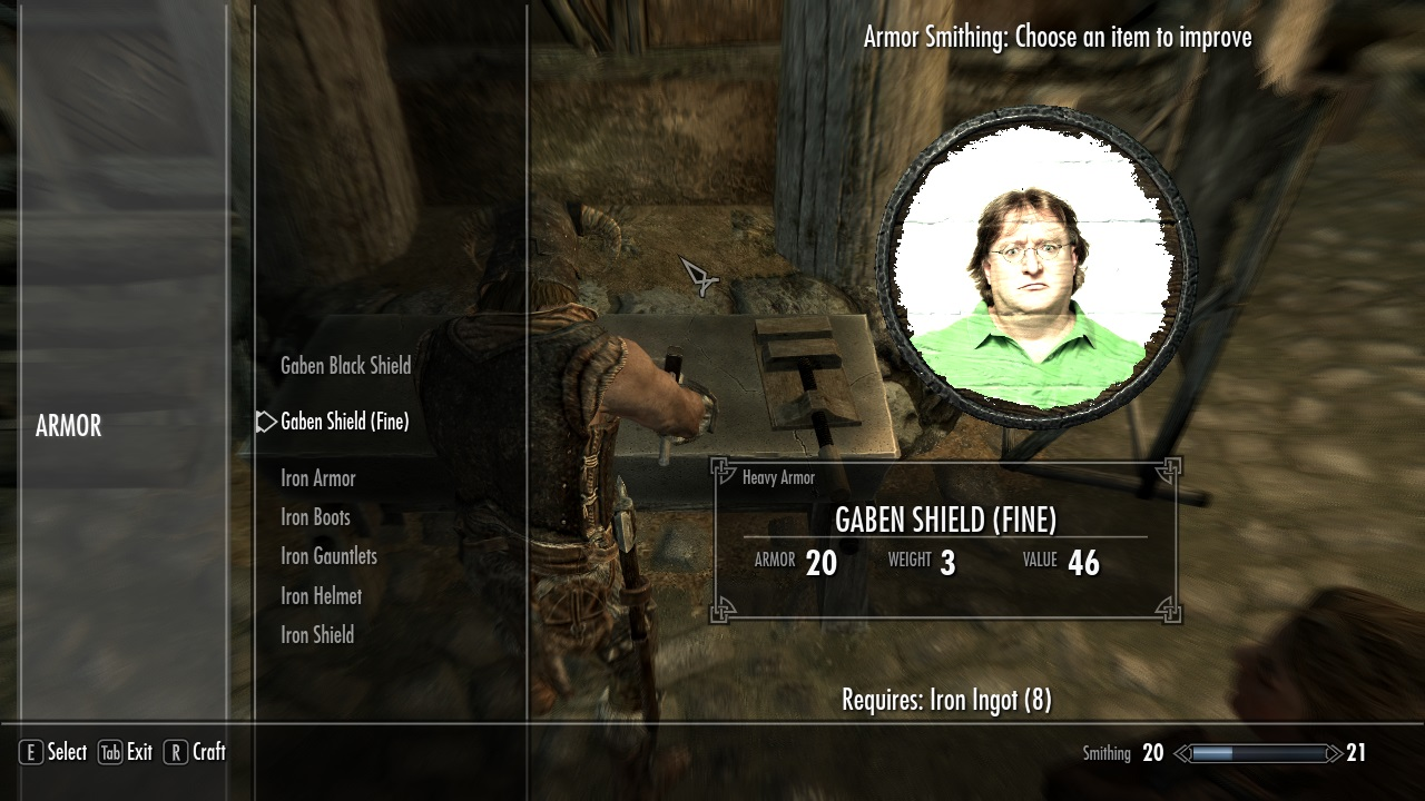 Skyrim Mod Delivers 'Lore-Friendly GabeN Shields'